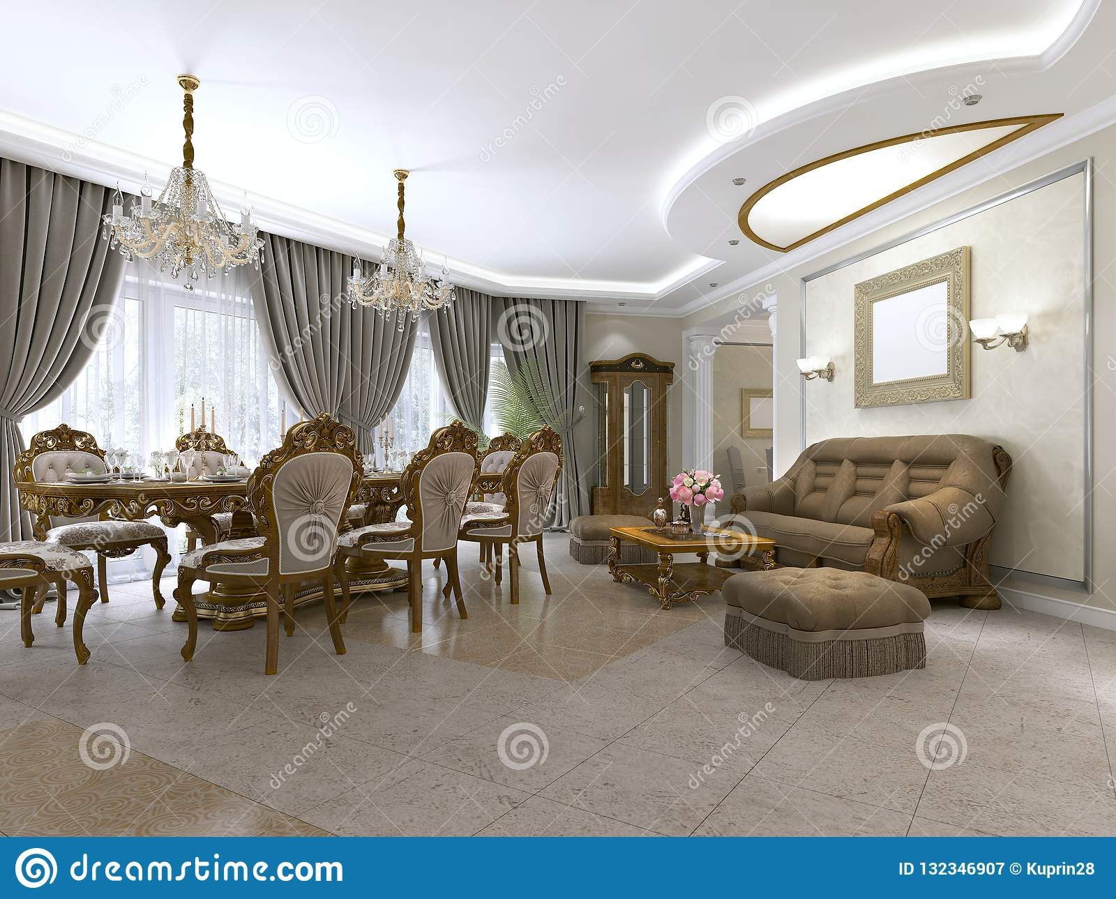 A Modern Classic Living Room In An Art Deco Style With A ...