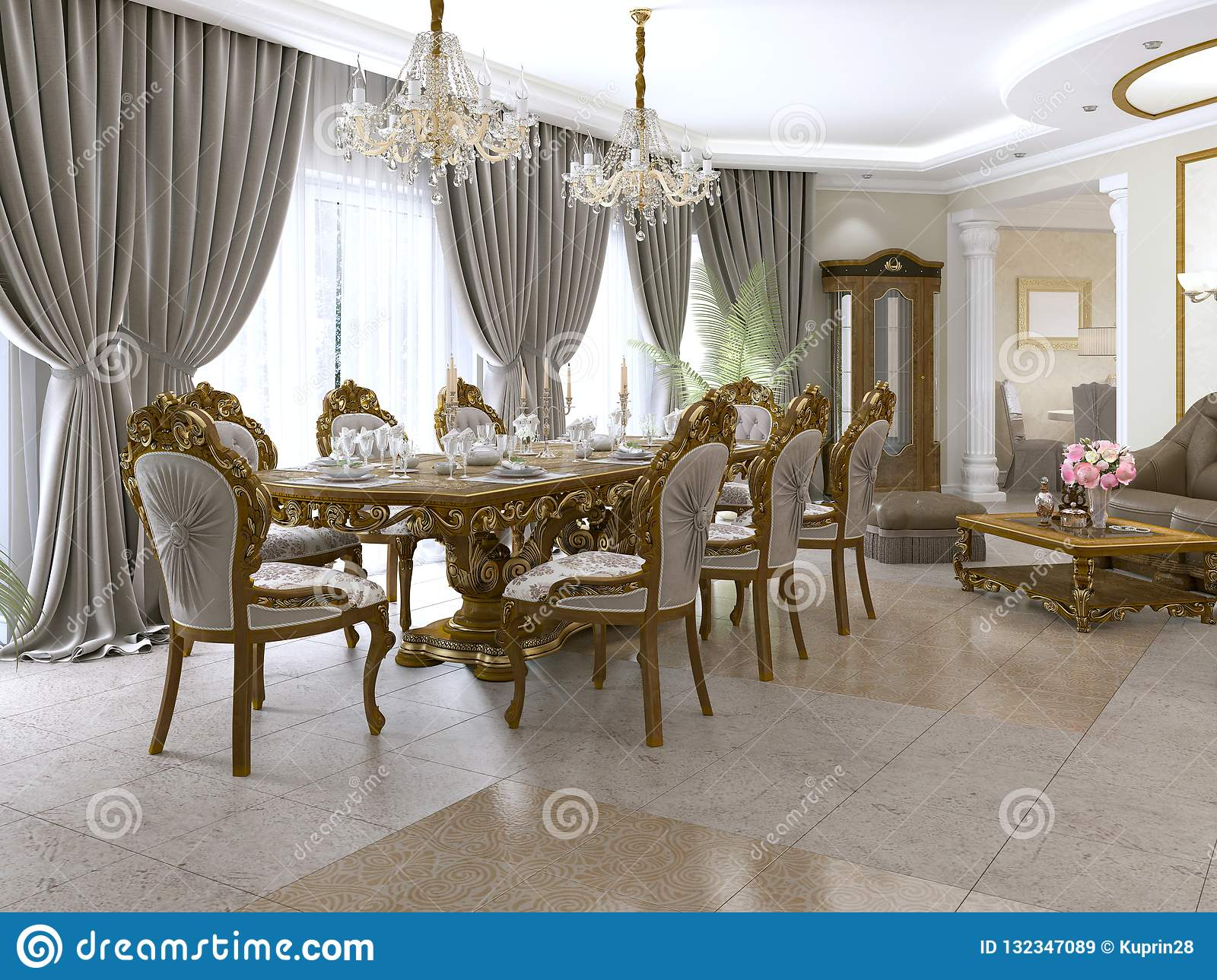 Picture of: A Modern Classic Living Room In An Art Deco Style With A Dining Table And Views Of The Kitchen And The Foyer Stock Illustration Illustration Of Floor Lamp 132347089