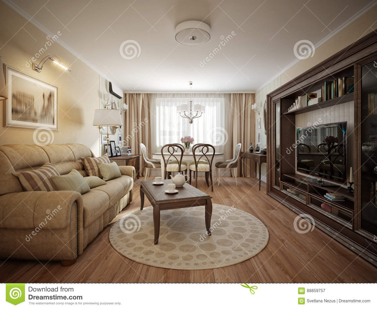 Modern Classic Living Room And Dining Room Interior Design