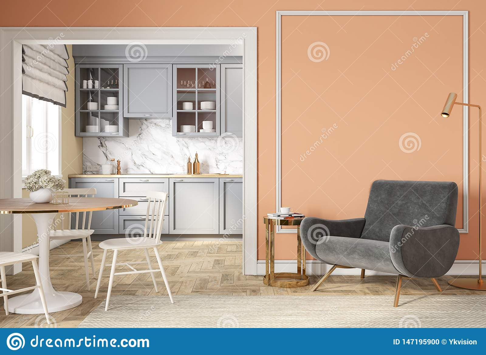Picture of: Modern Classic Peach Beige Interior With Lounge Chair Armchair Kitchen Dining Table Stock Illustration Illustration Of Apartment Lounge 147195900