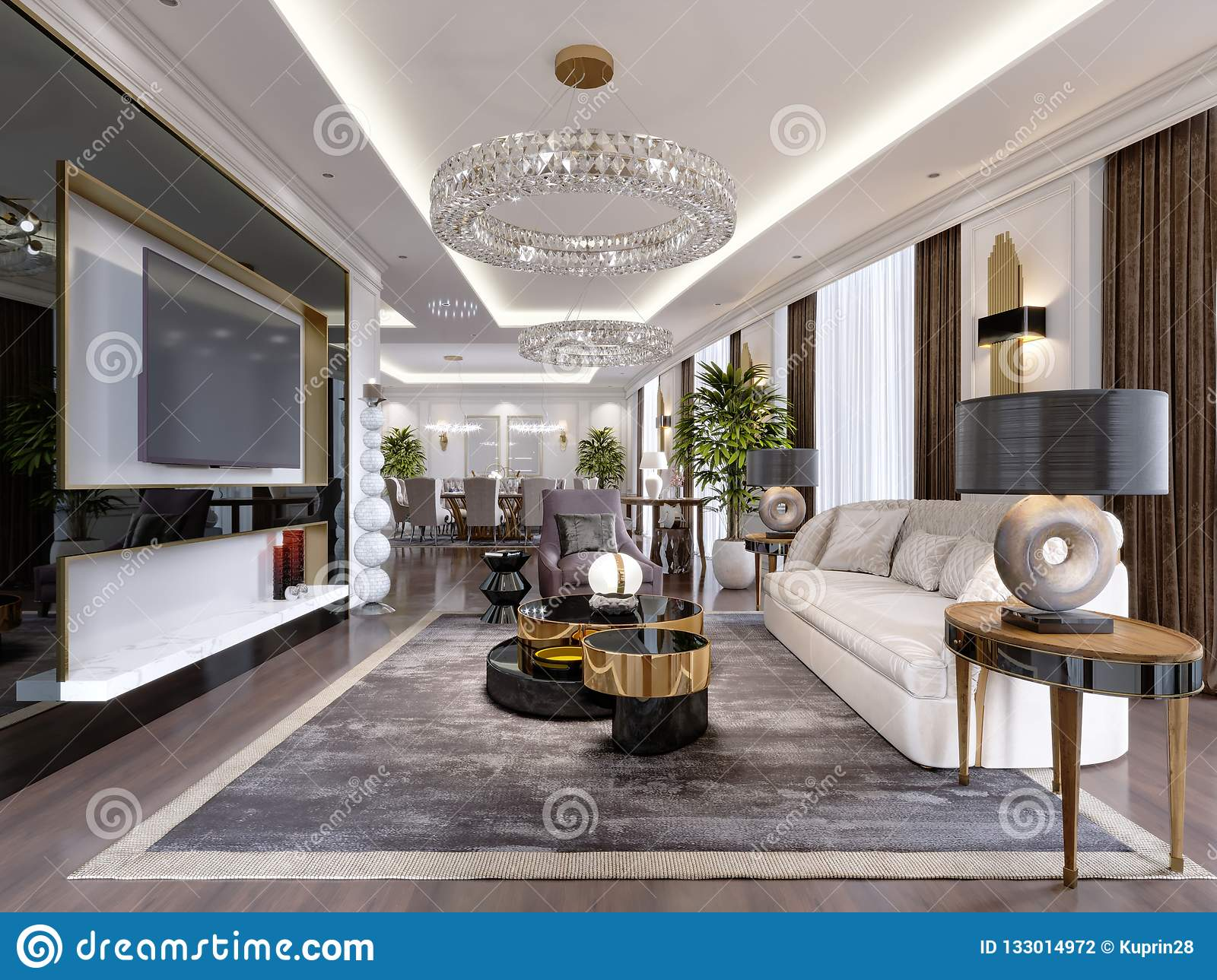 A Modern Classic Style Hotel Room With A Lounge And Dining
