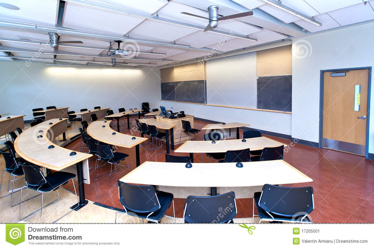 Modern University Classroom ~ Modern classroom stock image of interior