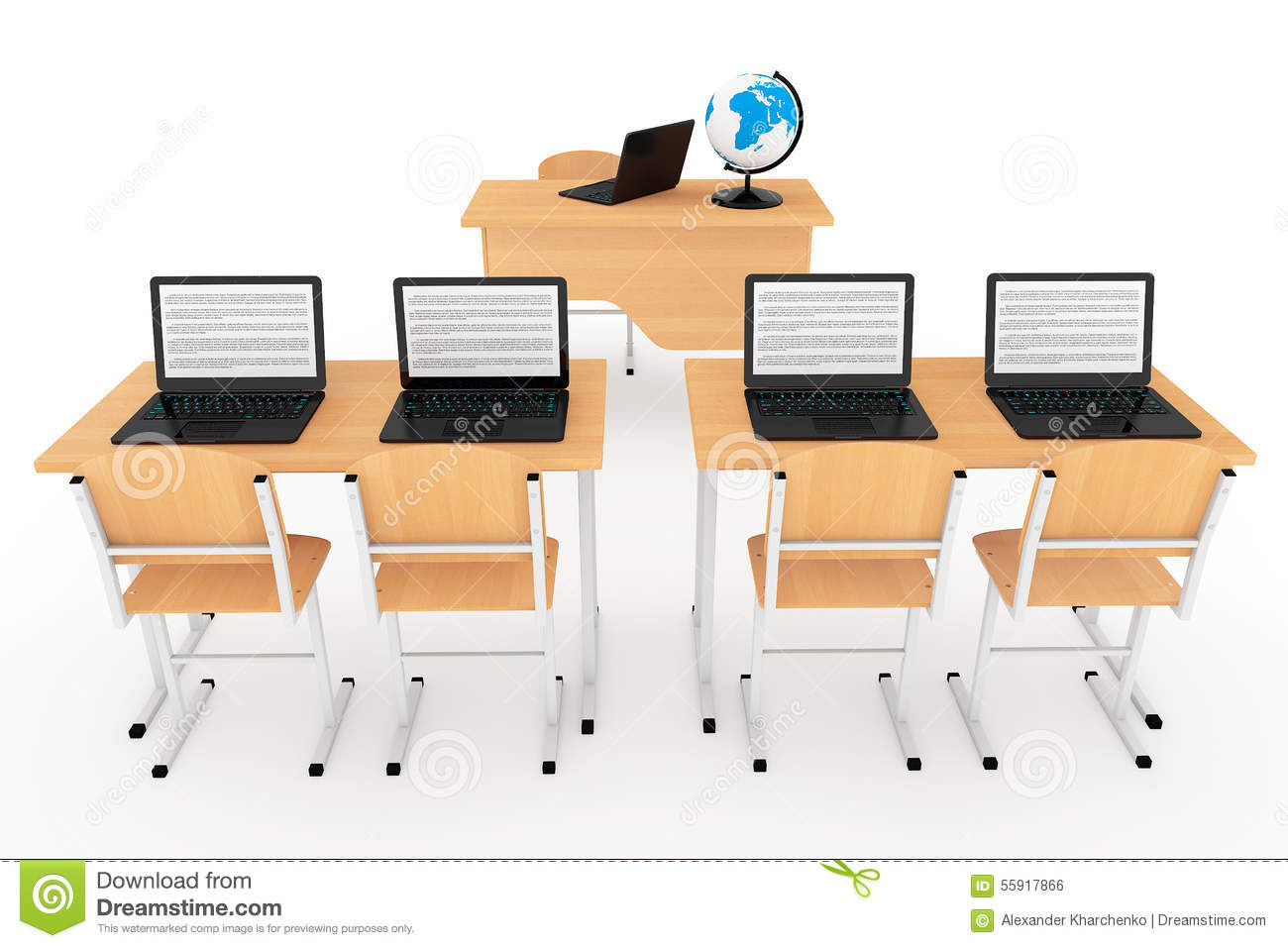 Modern Classroom Concept. School Desks With Laptops In Classroom Stock Illustration - Image ...