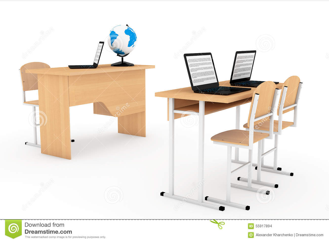 Modern Concept Of Classroom Management ~ Modern classroom concept school desks with laptops in