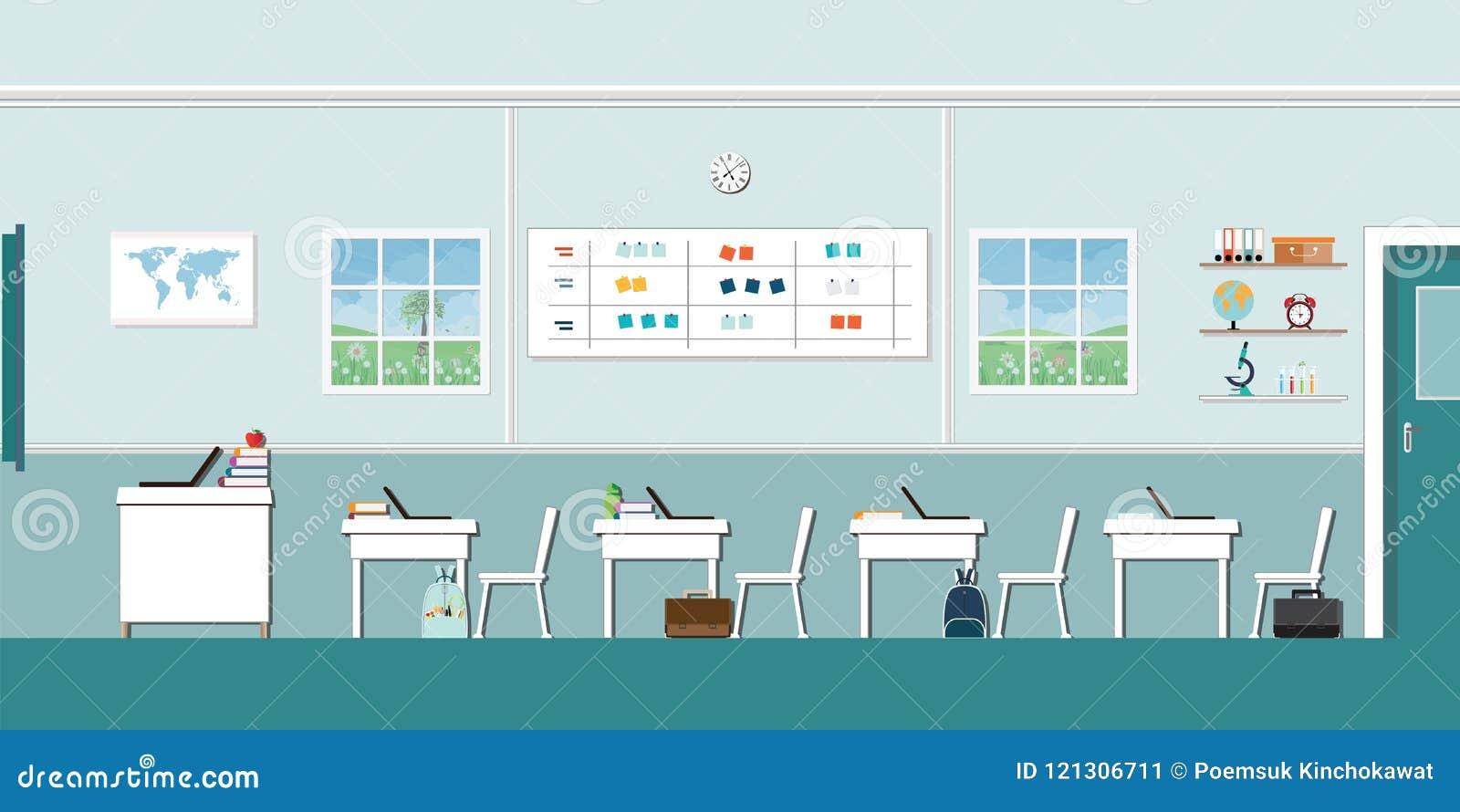 Modern Classroom Clipart ~ Modern classroom interior stock illustrations