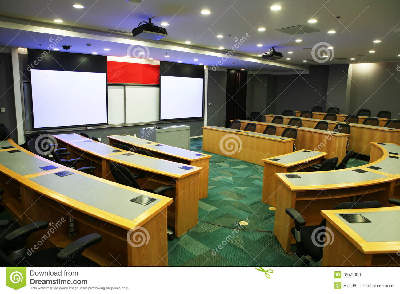 Modern Classroom Interior ~ Modern classroom with projector stock image of