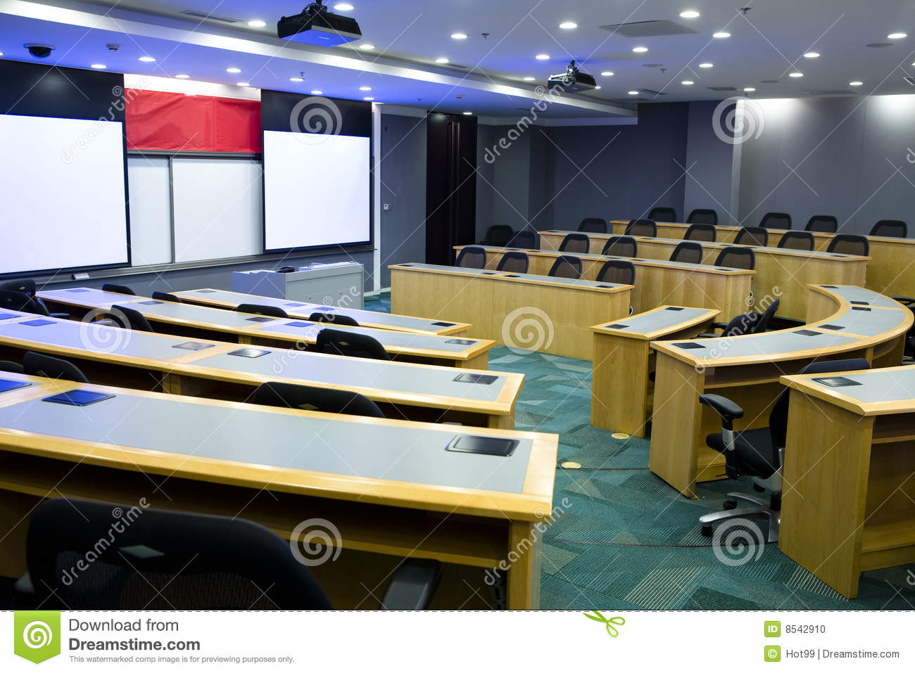 Modern Classroom Clipart ~ Modern classroom with projector stock photo image