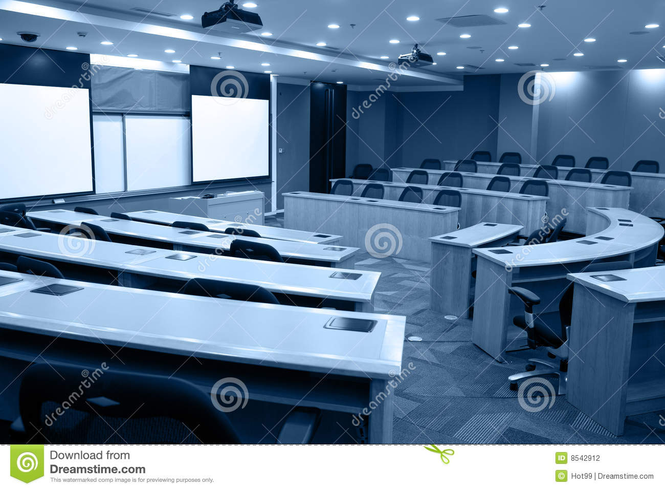 Modern Classroom Projector ~ Modern classroom with projector stock photo image of