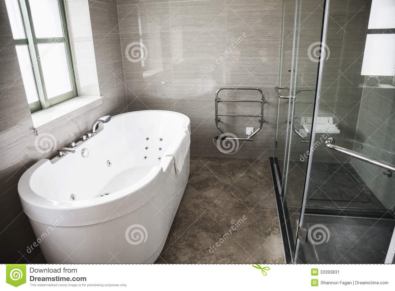modern clean bathroom with bathtub and shower stock image image 33393831. Black Bedroom Furniture Sets. Home Design Ideas