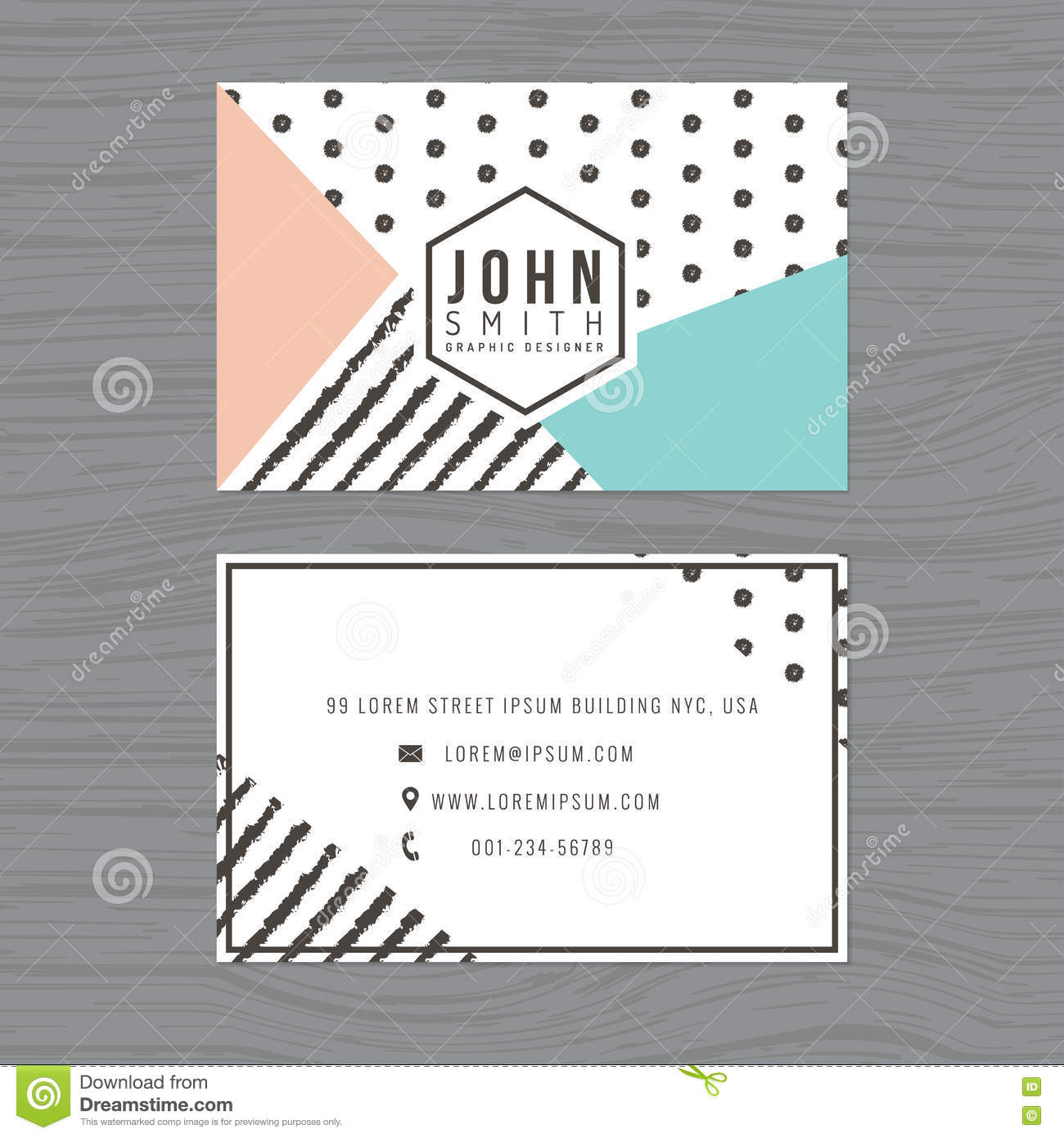 Modern clean business card template in stripes and polka dot royalty free vector download modern clean business card template in stripes and polka dot background printing design template accmission Images