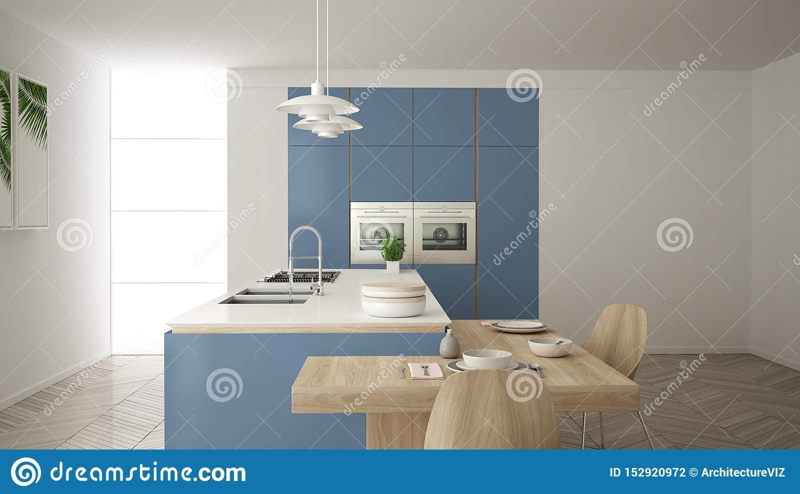 Modern Clean Contemporary Blue Kitchen Island And Wooden Dining Table With Chairs Bamboo And Potted Plants Big Window And Stock Illustration Illustration Of Frame Nobody 152920972