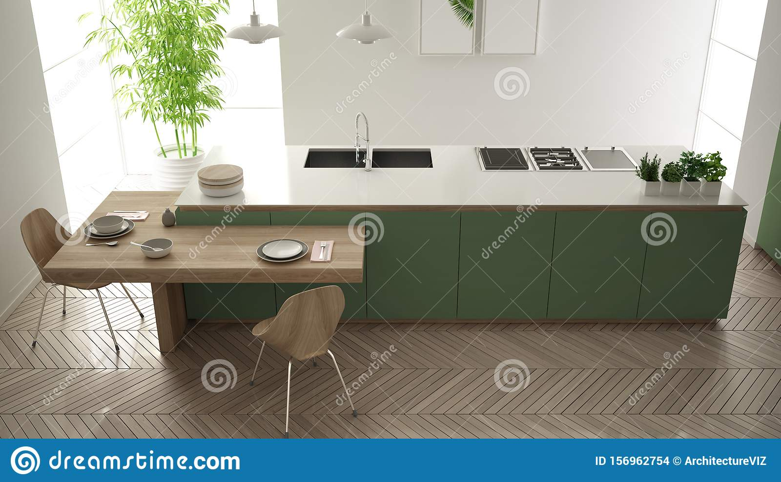 Modern Clean Contemporary Green Kitchen Island And Wooden Dining Table With Chairs Bamboo And Potted Plants Big Window And Stock Illustration Illustration Of Cozy Gray 156962754