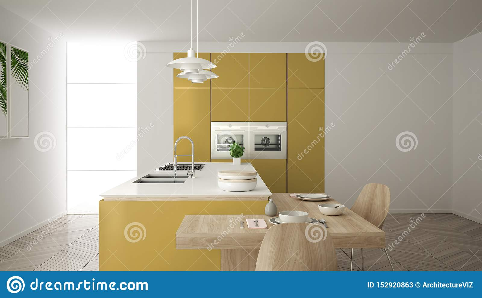 Modern Clean Contemporary Yellow Kitchen, Island And Wooden Dining