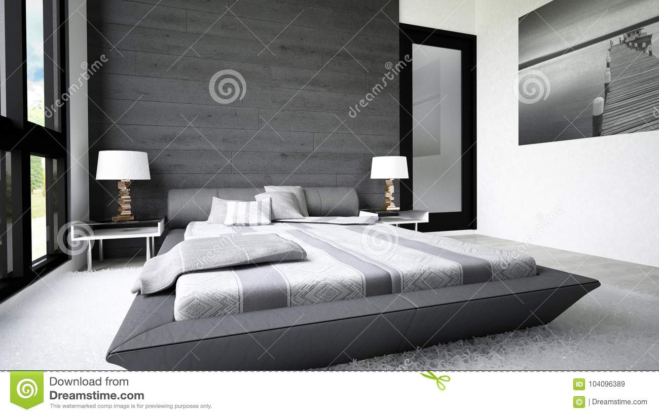 Bright modern bedroom with modern furniture materials and accessories for a luxurious and clean look all for relax and luxury life