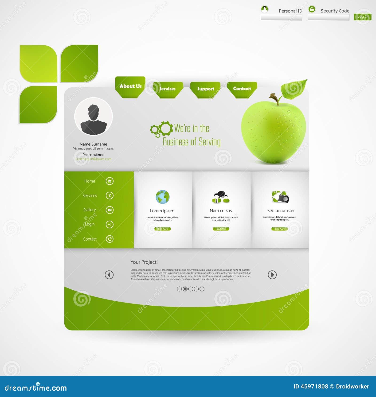 Modern Clean Green Business Website Template Stock Vector - Online art gallery website template