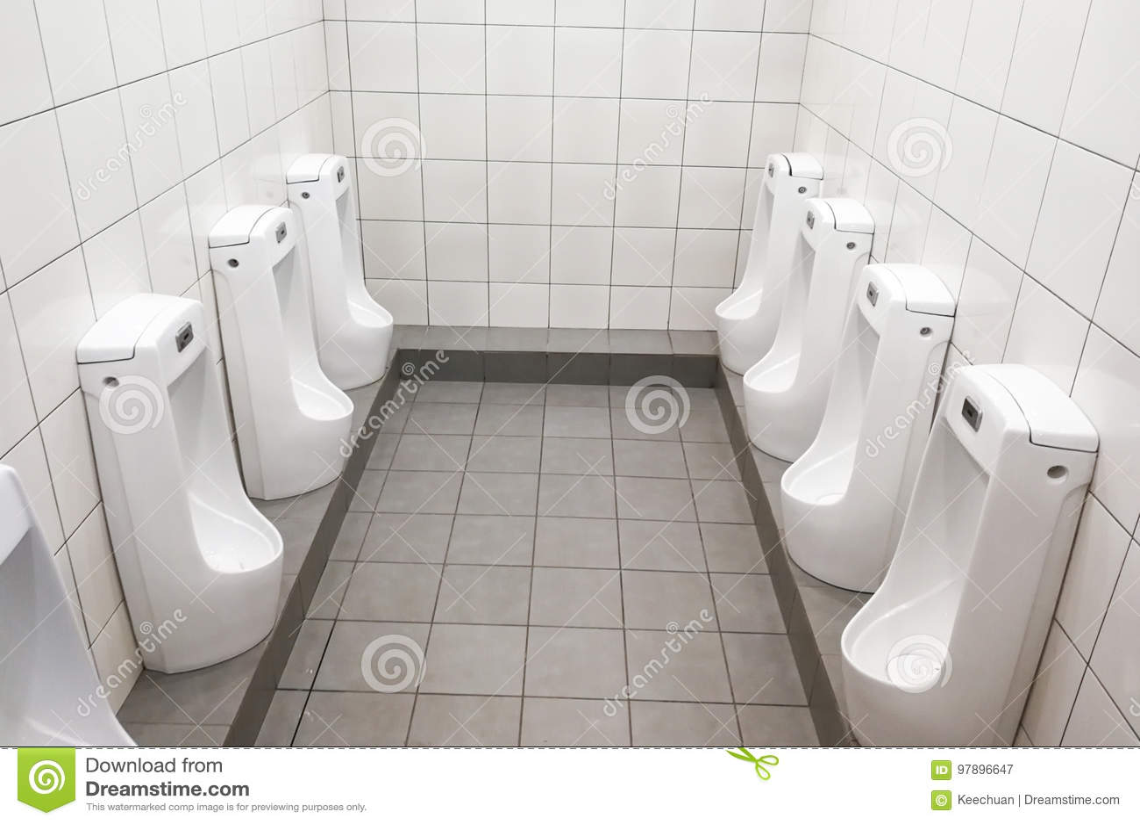 Modern Clean Hygienic Men Urinal Ware In Public Washroom Toilet ...