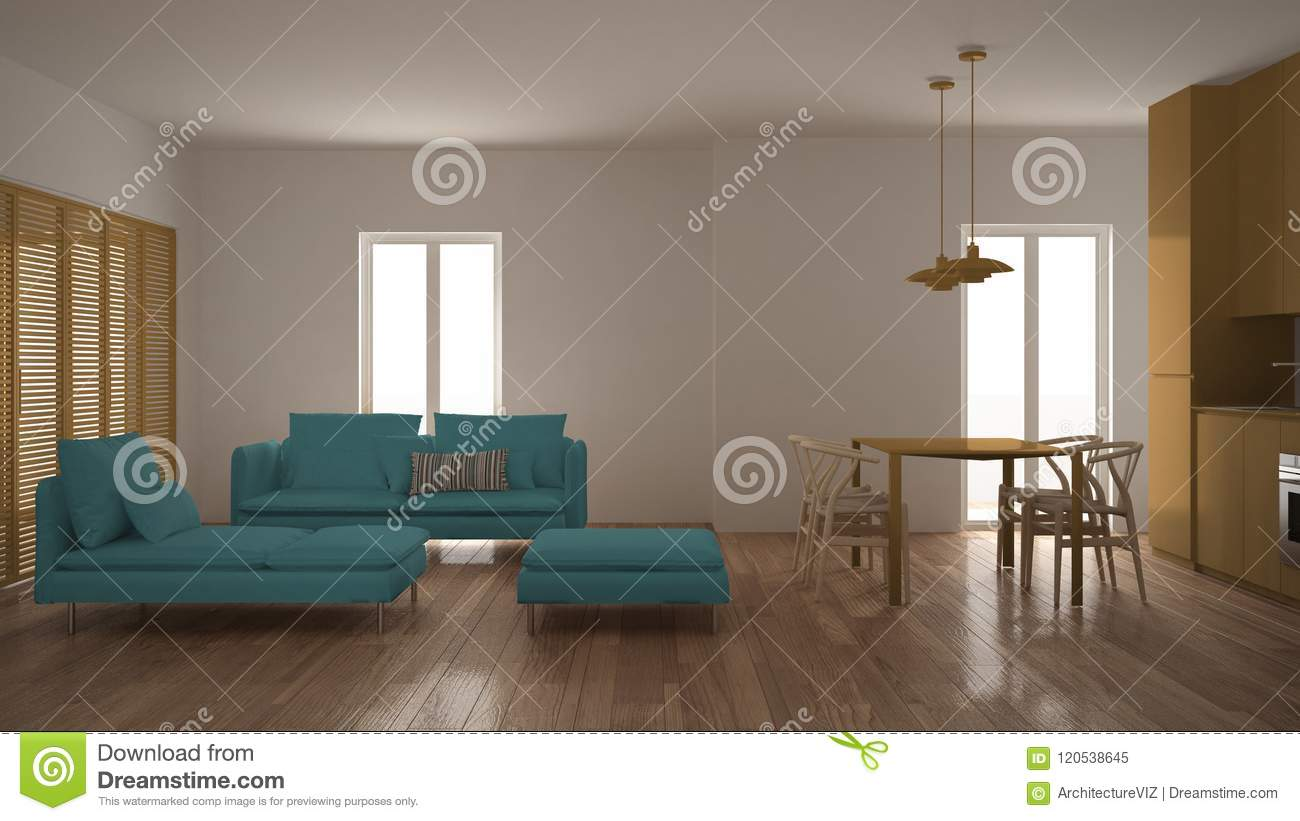 Modern Clean Living Room With Kitchen And Dining Table Sofa