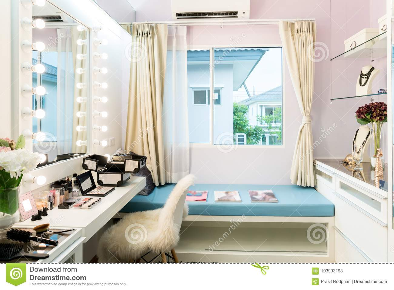 Modern Closet Room With Make Up Vanity Table Mirror And Cosmetics Product In Flat Style House Stock Photo Image Of Floor Design 103993198