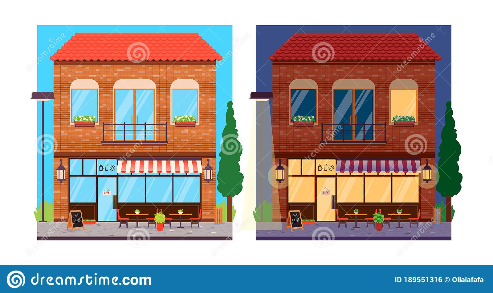 Coffee Shop Exterior At Day And Night Stock Vector Illustration Of Open Chalkboard 189551316