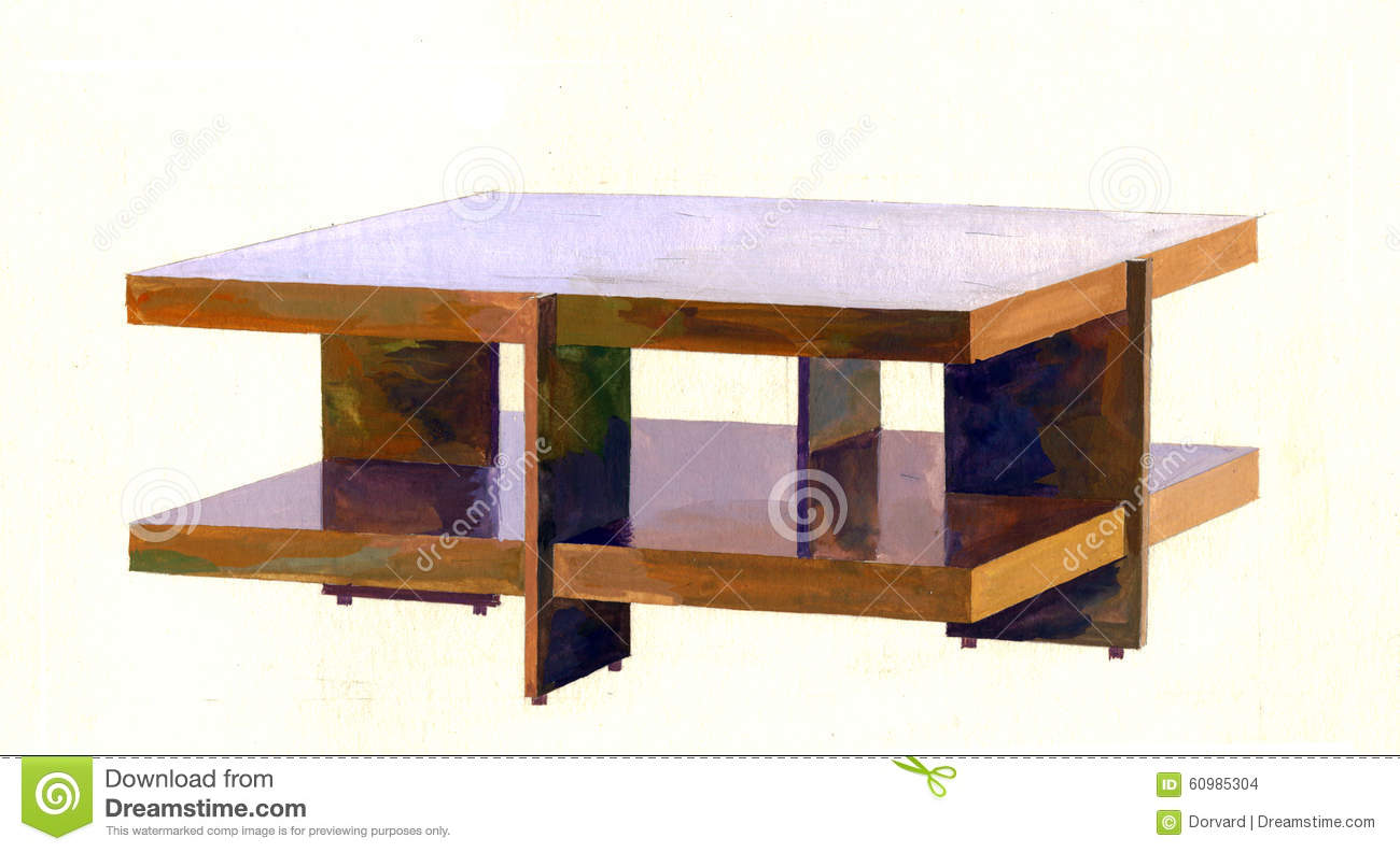 Modern coffee table stock illustration. Image of drawing ...