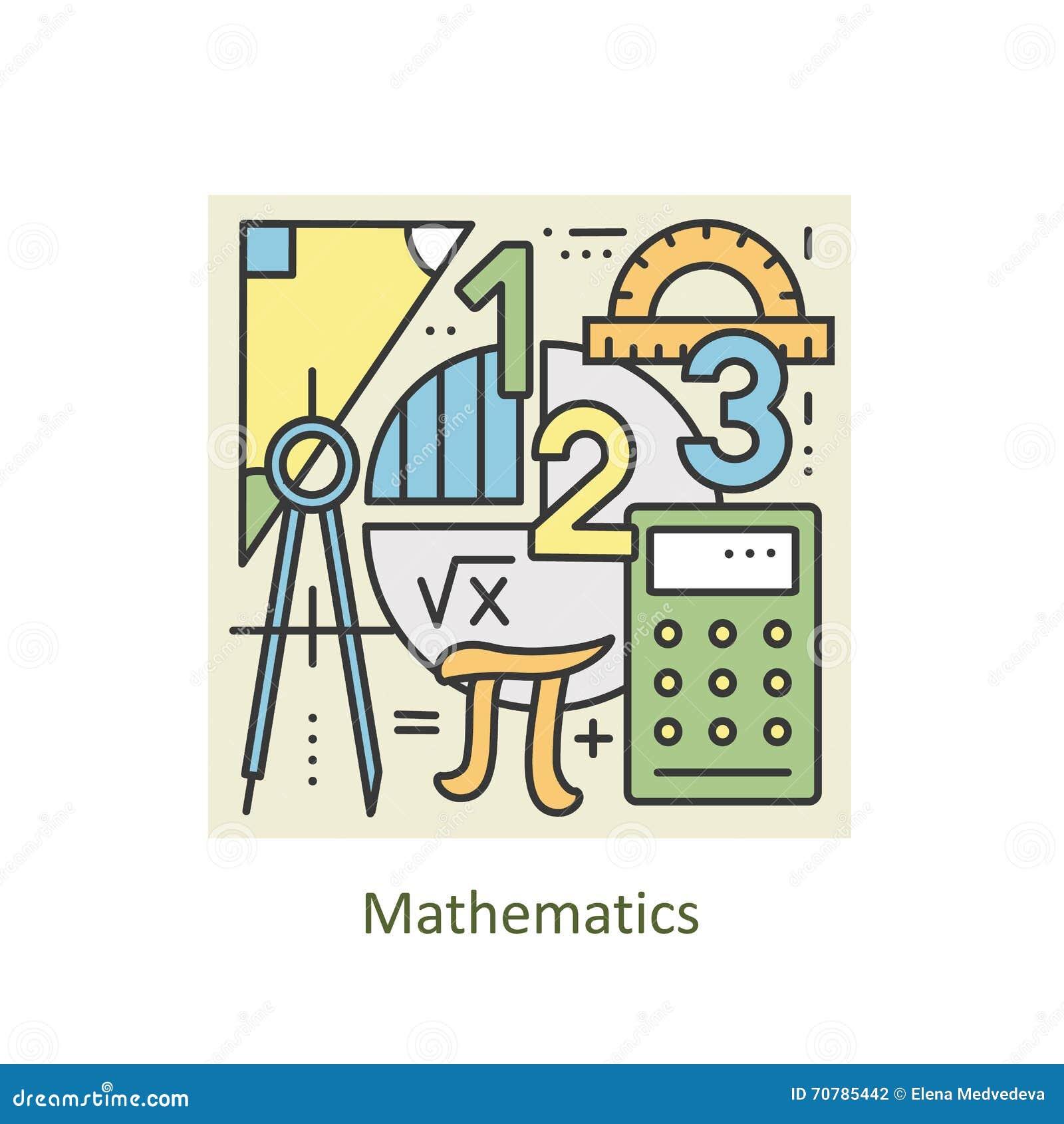Line Art Math : Modern color thin line concept of mathematics for school