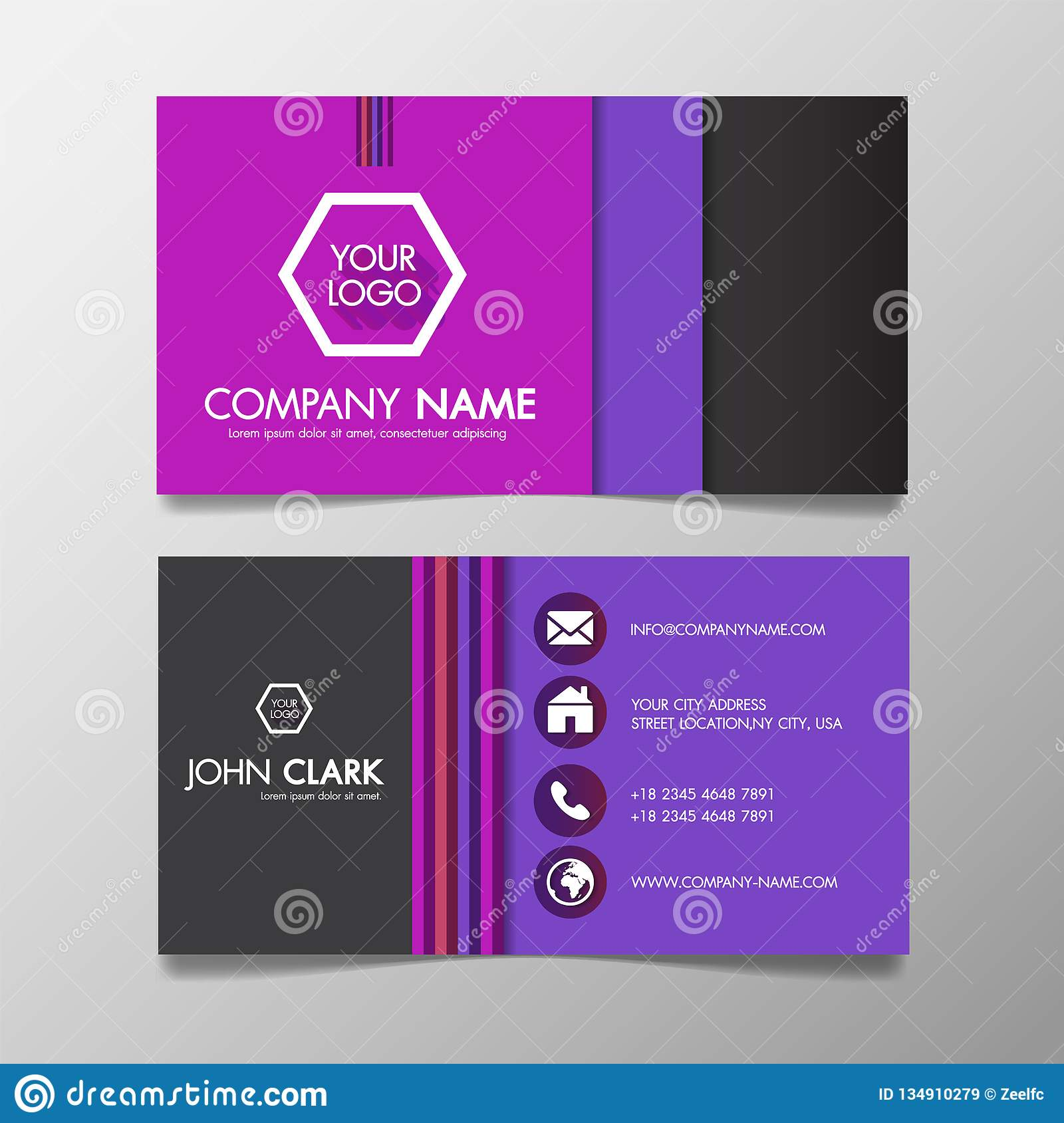 Modern Colorful Business Card Template Presentation Design With