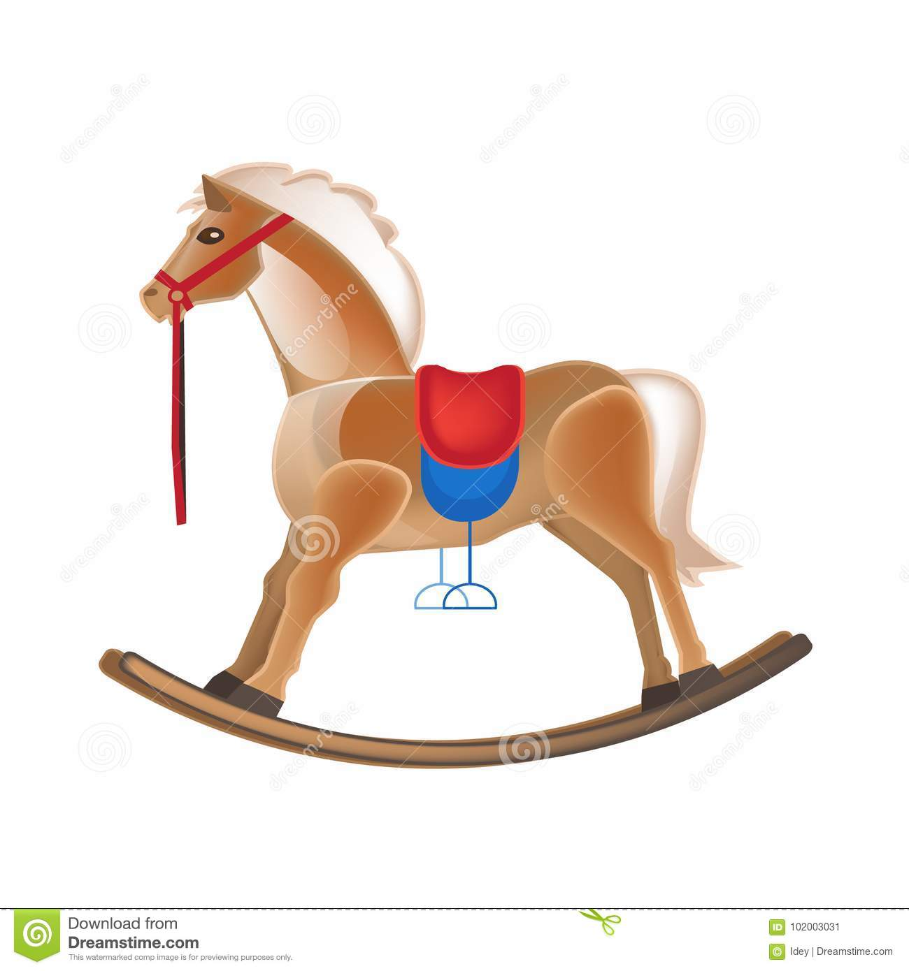 Modern colorful children`s toys. Horse rocking, entertainment, swing, carousel.
