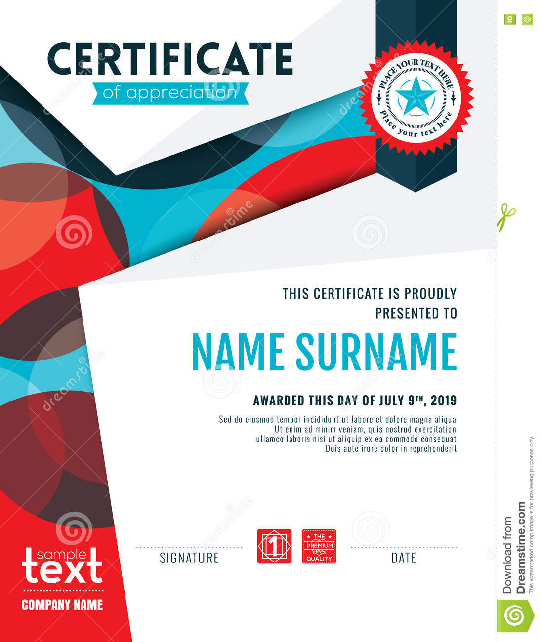 Certificate of appreciation template in modern design business certificate of appreciation template in modern design business vector illustration cartoondealer 92706094 yadclub Image collections