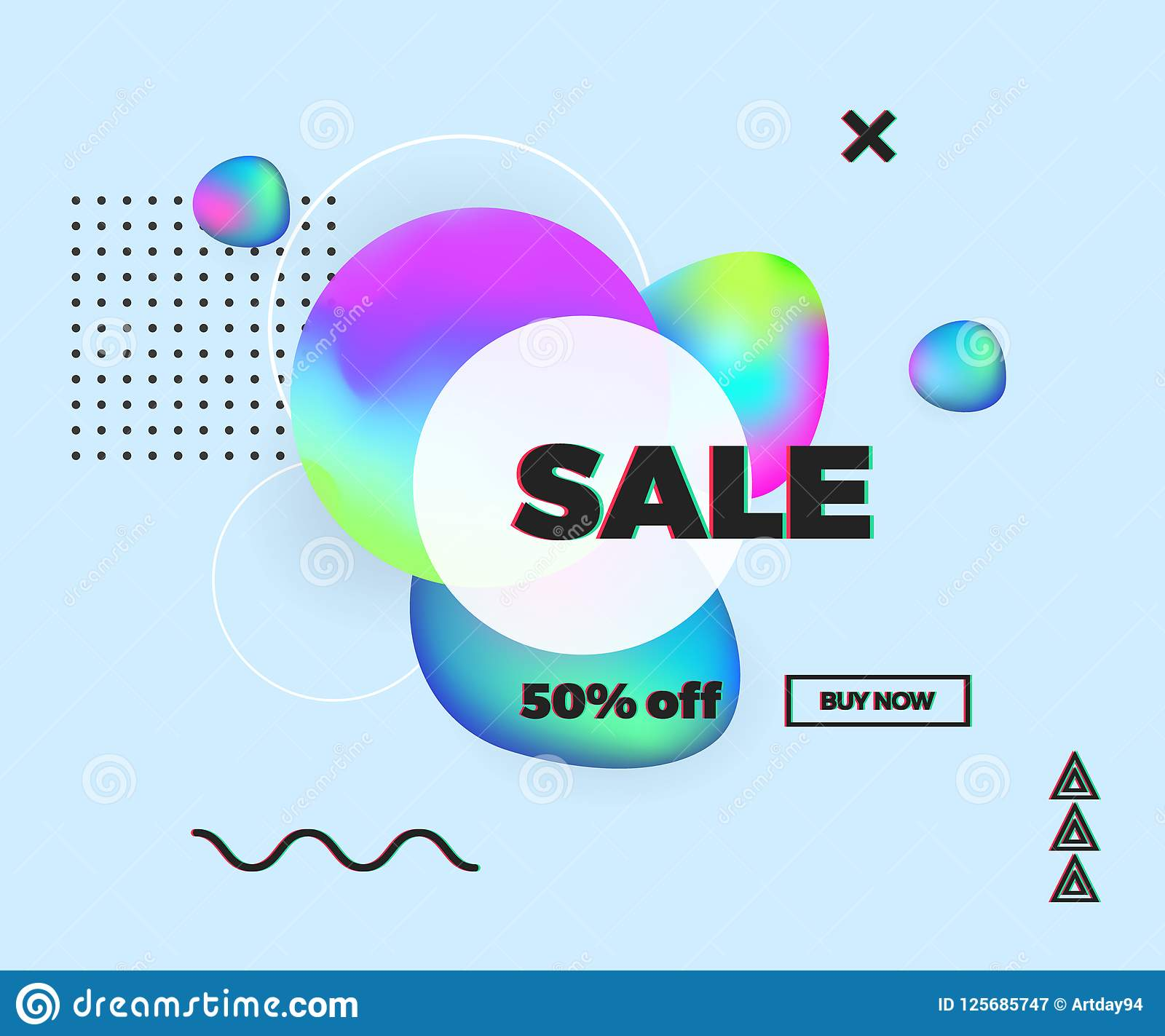 65fdee6592fff Modern colorful fluid and memphis elements, Sale banner, template design  with glitch text effect