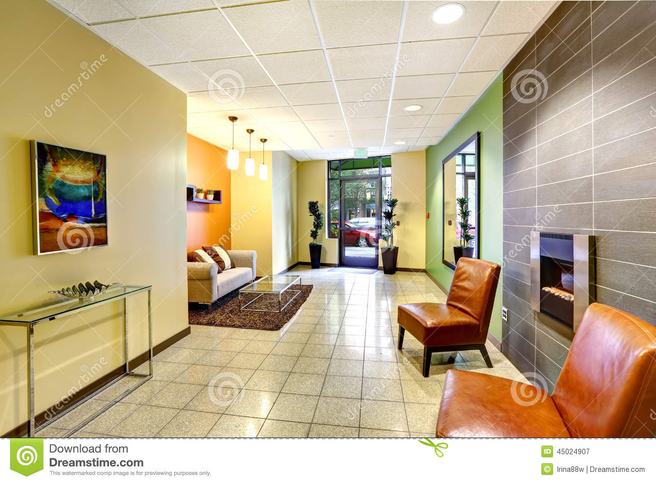 Modern colorful foyer. residential building. stock photo   image ...