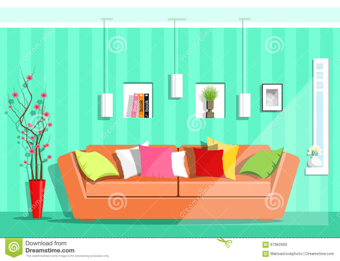 Colorful Modern Living Room Furniture Set Royalty Free