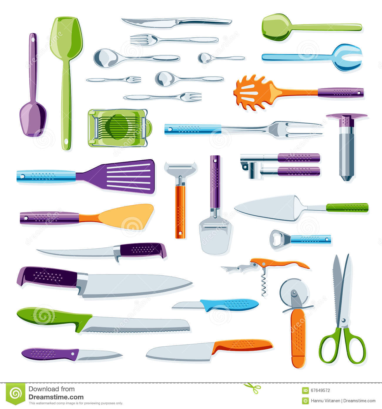 Modern colorful kitchen equipment stock photo image for Colorful kitchen tools