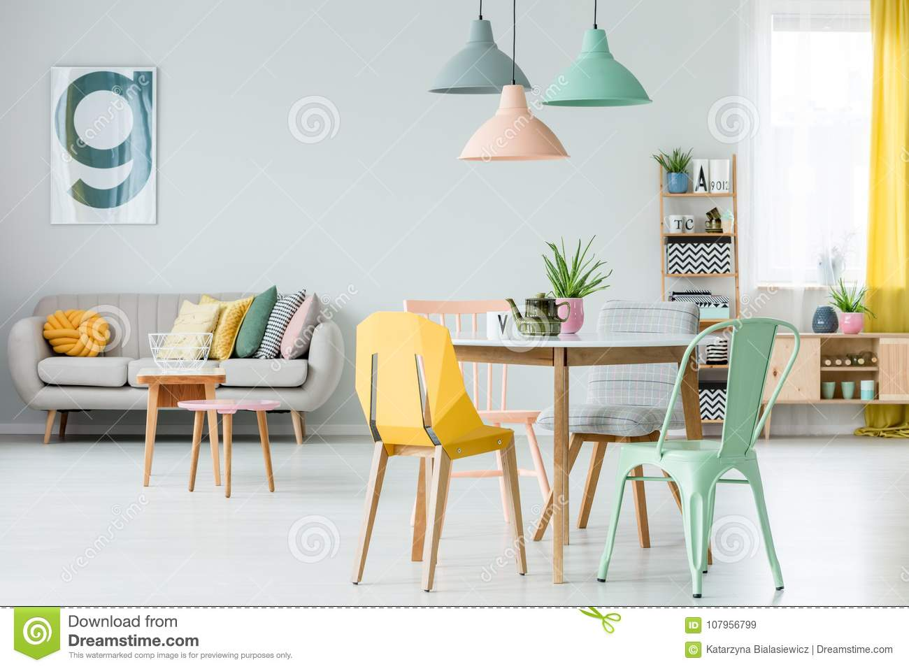 Modern Colorful Living Room Stock Image - Image of black, grey ...
