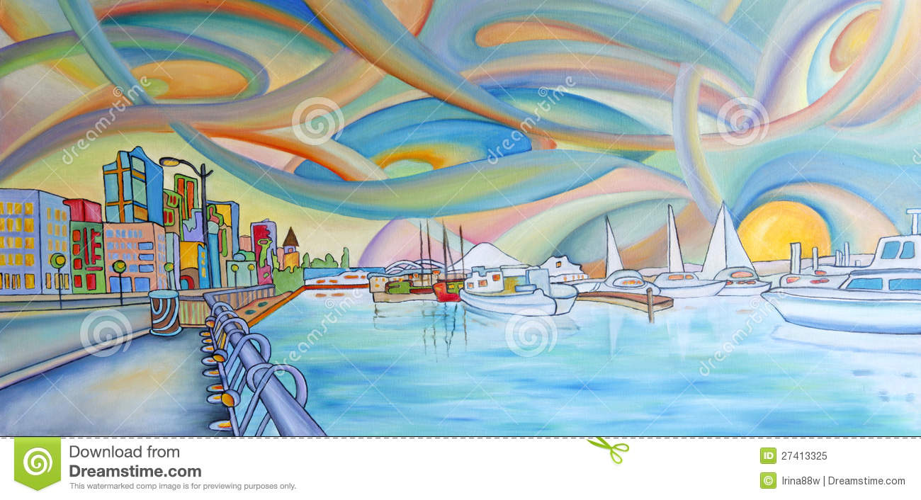 Modern Colorful Painting Of Seattle City Royalty Free Stock Photo Image 27413325