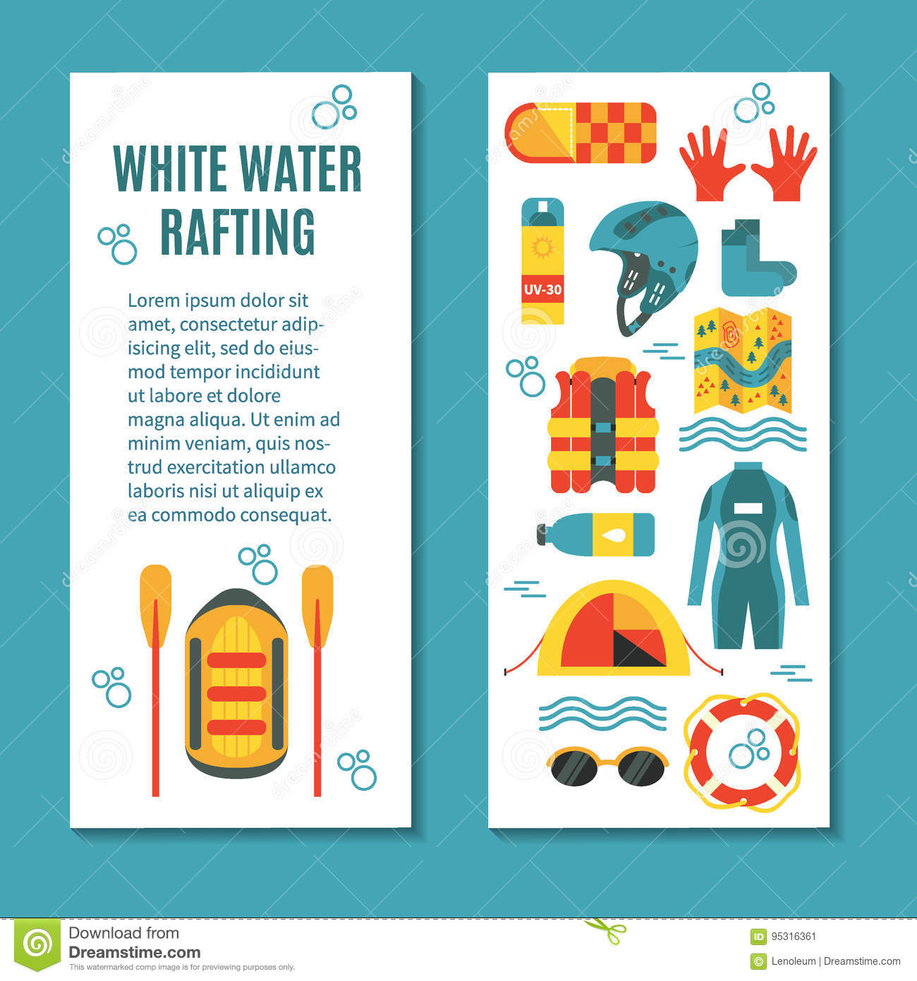 modern colourful vertical flyer for rafting club or sport team stock