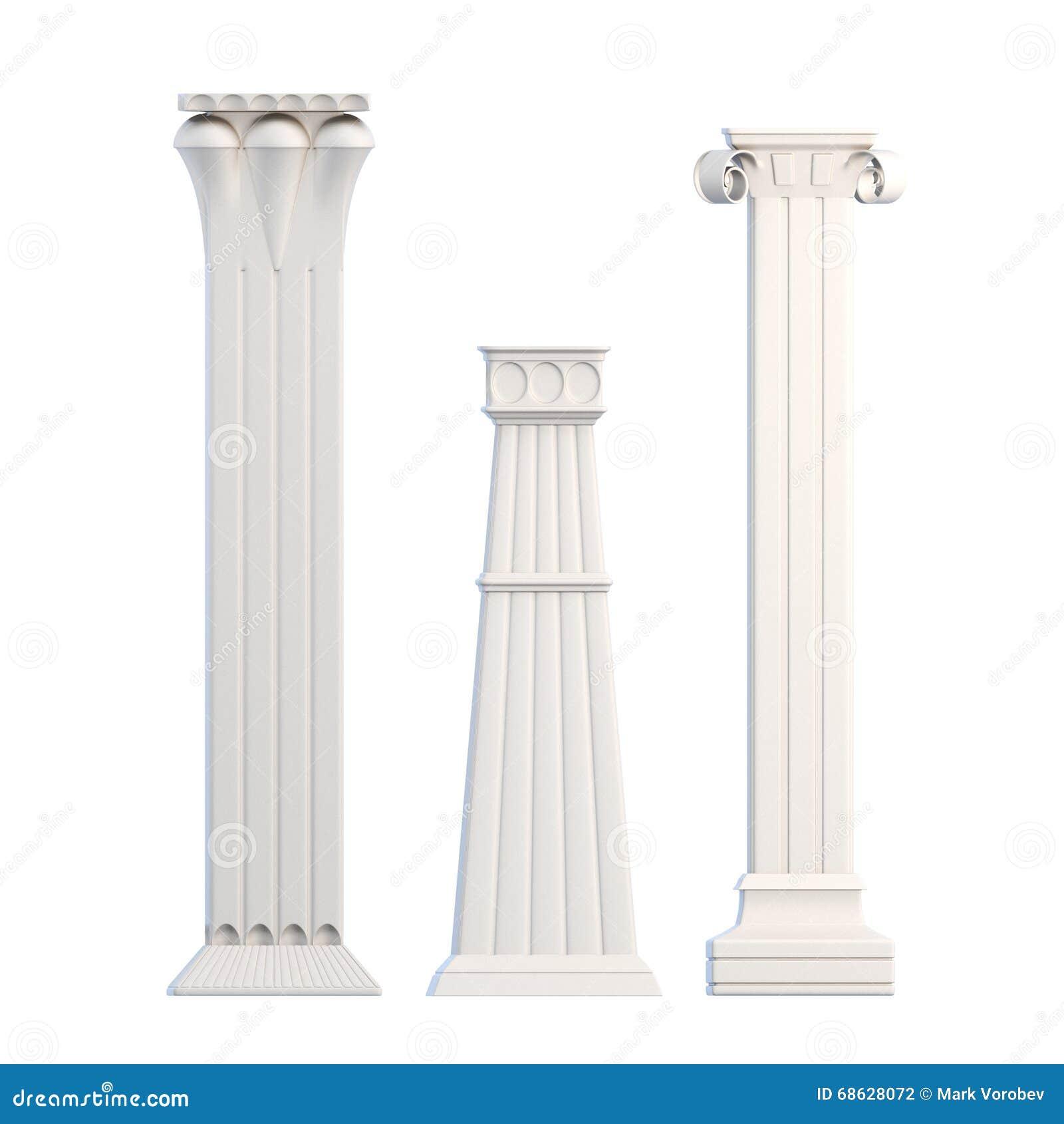 Modern Columns modern columns on white background. 3d rendering stock