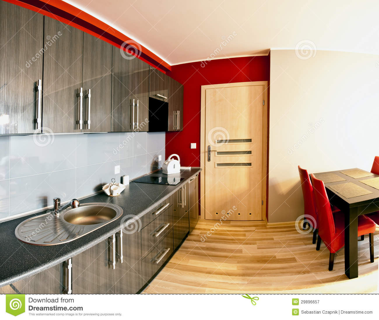 Combined Kitchen And Dining Room Royalty Free Stock  : modern combined kitchen dining room polished wooden floor table chairs cupboards sink mixer tap work top 29896657 from dreamstime.com size 1300 x 1100 jpeg 162kB