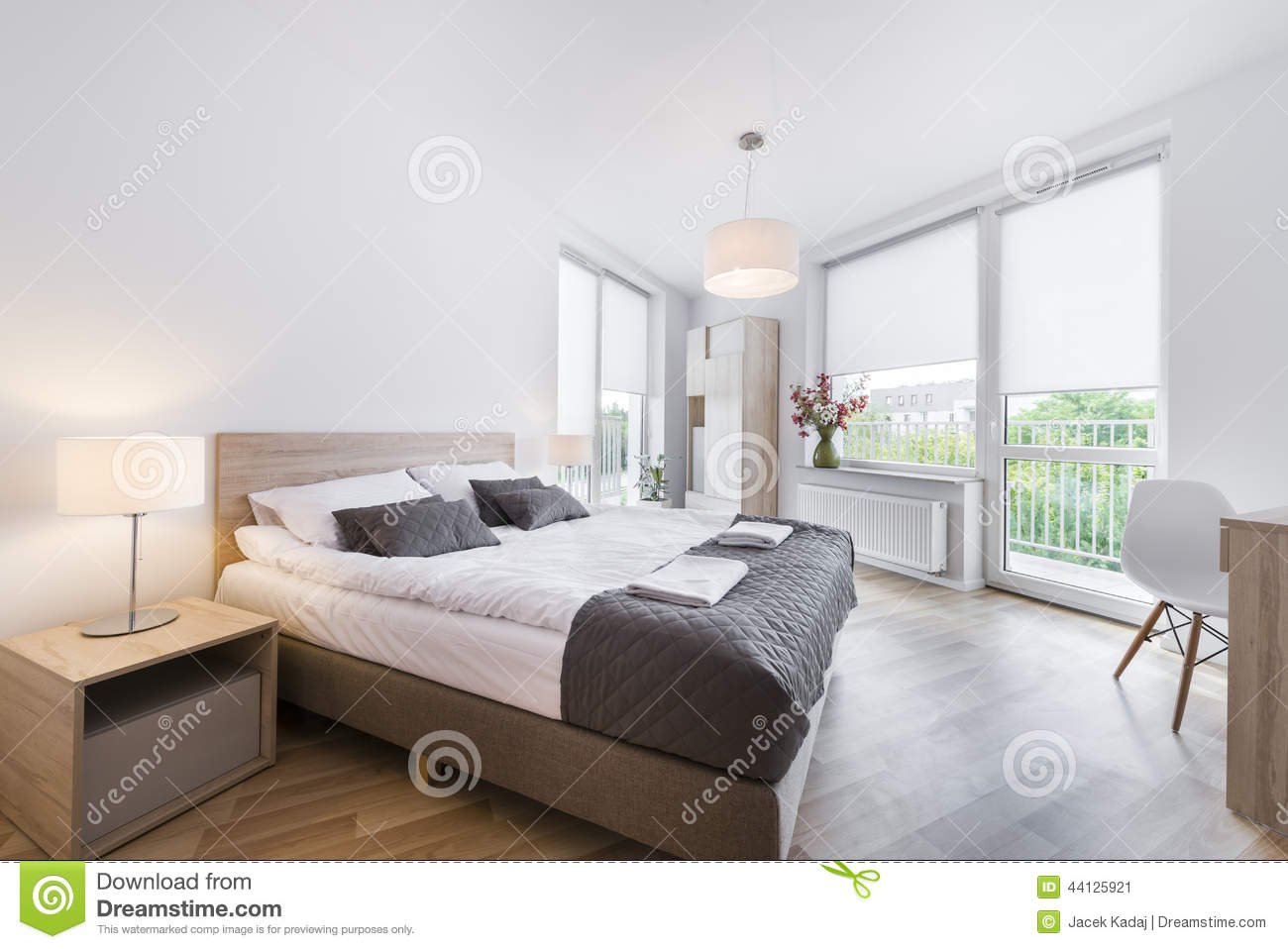 Modern And Comfortable Bedroom Interior Design Stock Image - Image ...