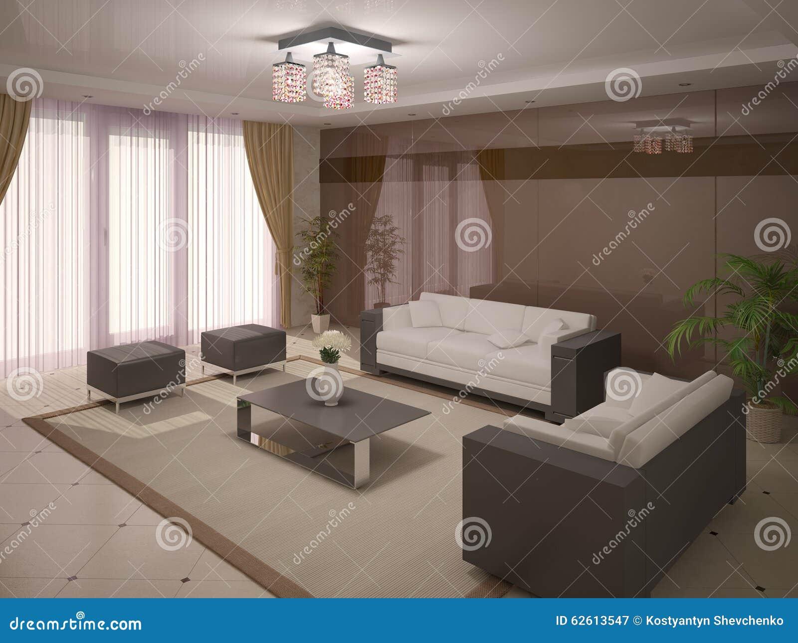 Modern And Comfortable Living Room Stock Illustration