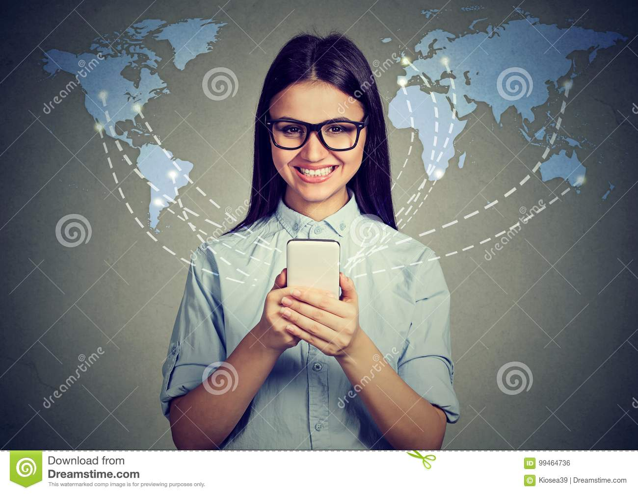 Modern communication technology concept. Happy woman with smartphone connected browsing internet worldwide