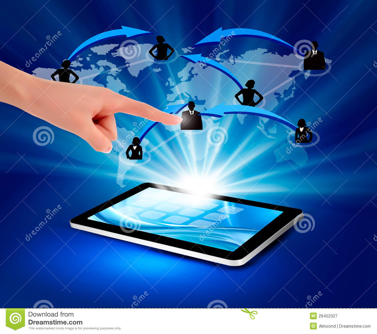 Modern communication technology illustration with