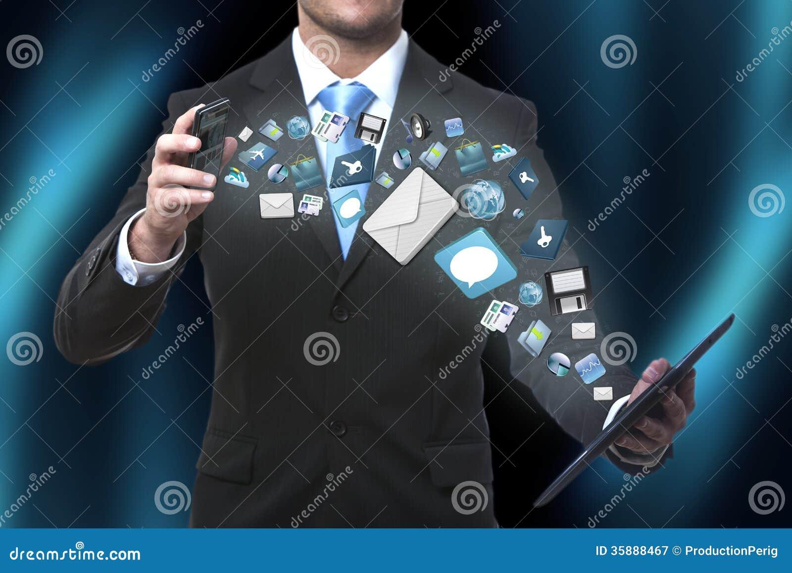 Technology Management Image: Modern Communication Technology Illustration With Mobile