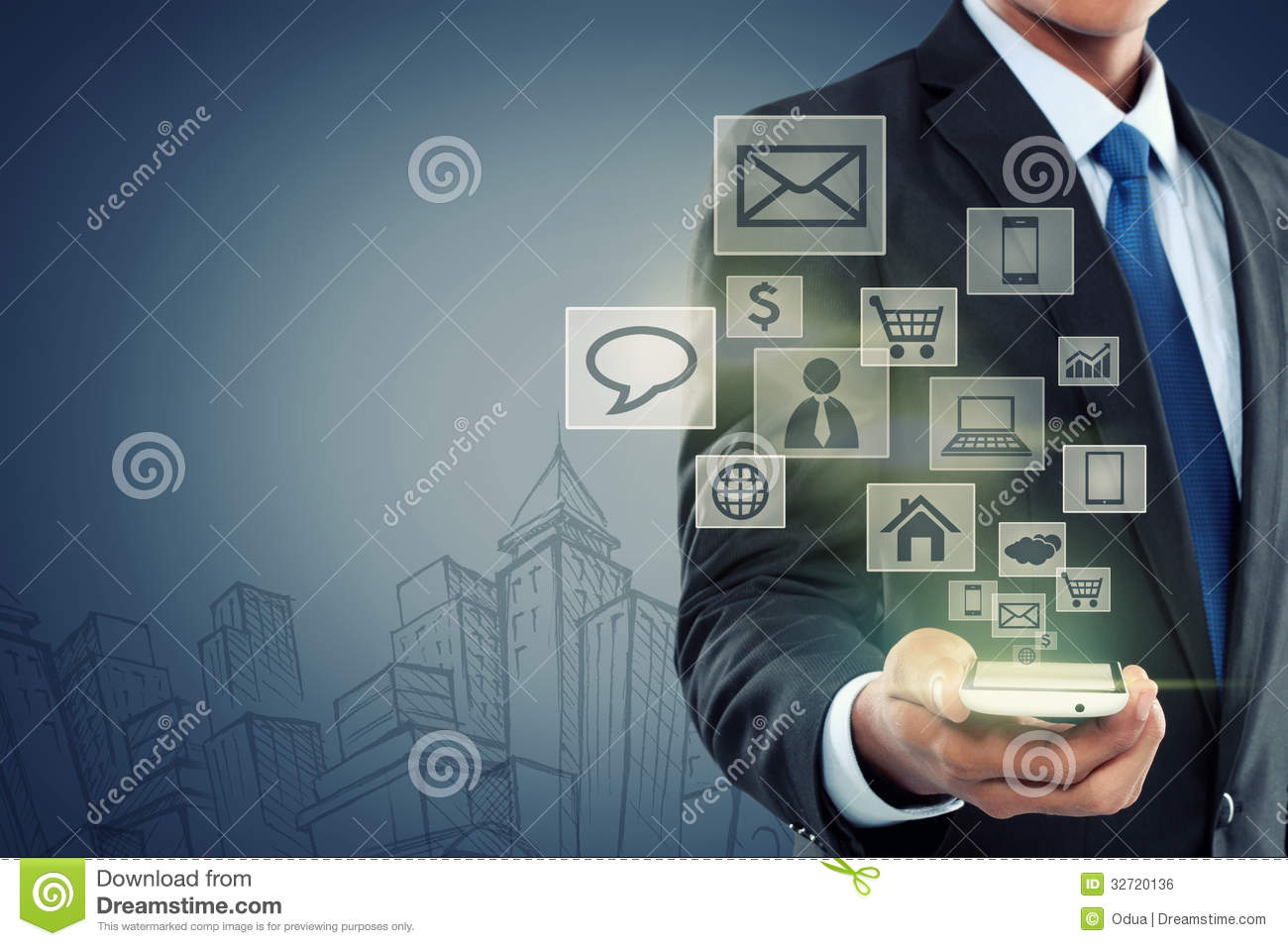 Modern Communication Technology Mobile Phone Stock Photo ...