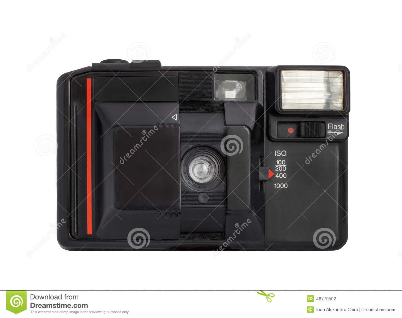 Modern compact analog camera on film 35mm format isolated on a white background