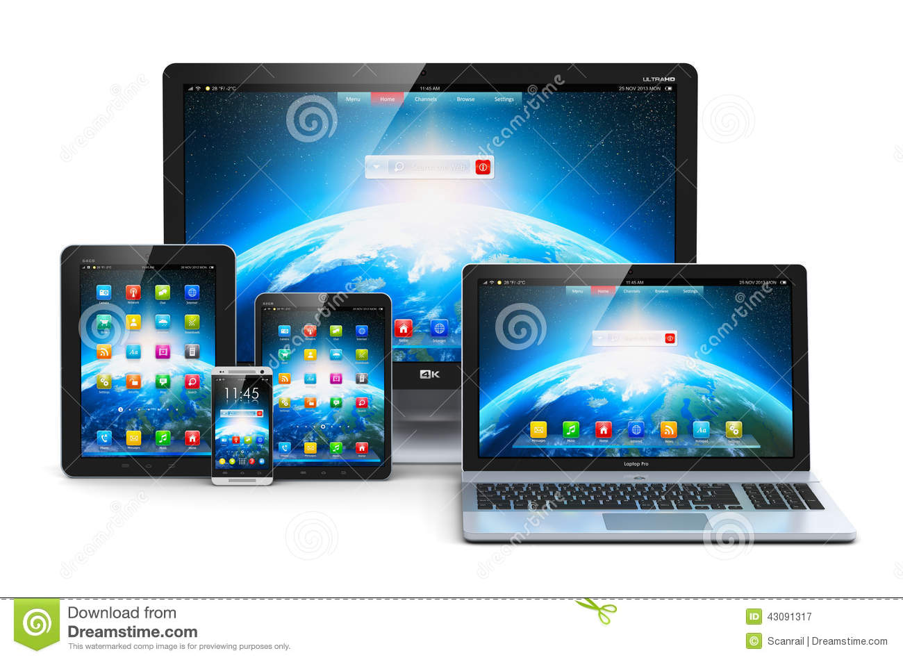 Modern computer devices stock illustration  Illustration of