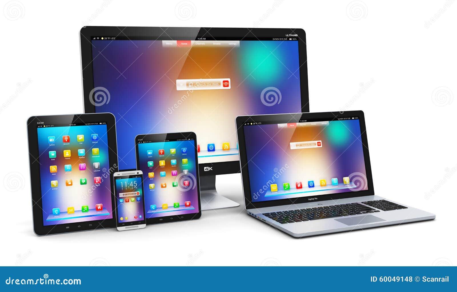 Modern computer devices stock illustration image 60049148 - Tv und mediamobel ...