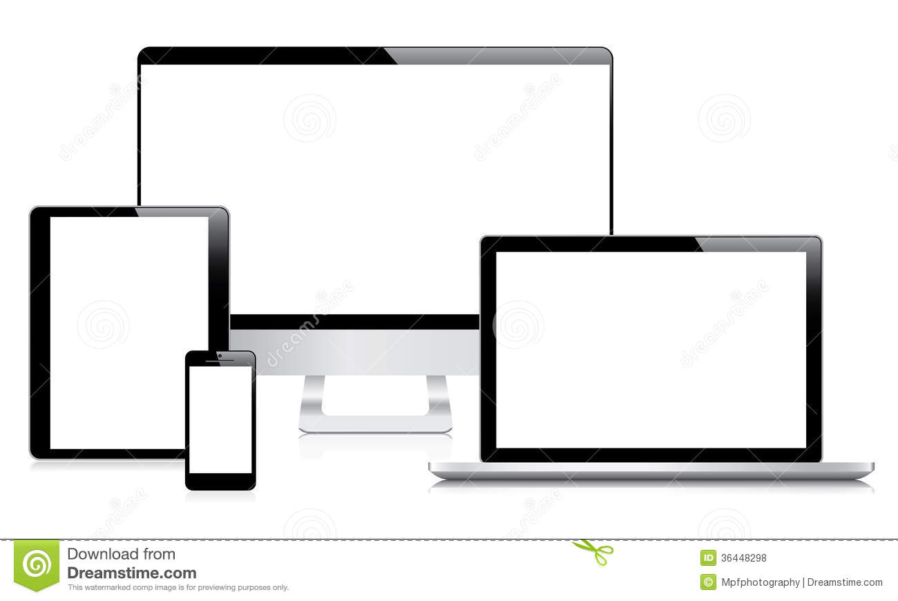 Modern Computer Laptop Tablet And Smartphone Vec Stock
