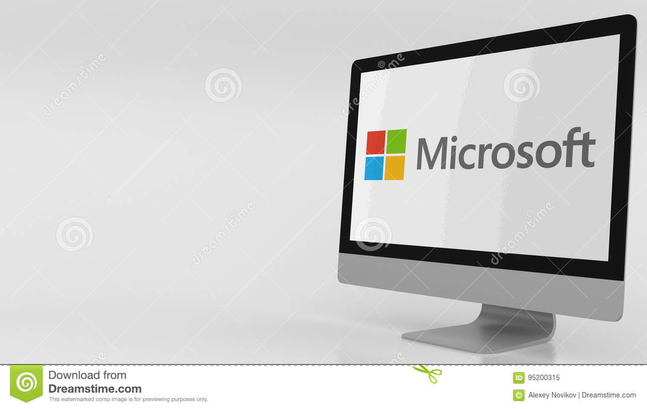Modern Computer Screen With Microsoft Logo  Editorial 3D Rendering