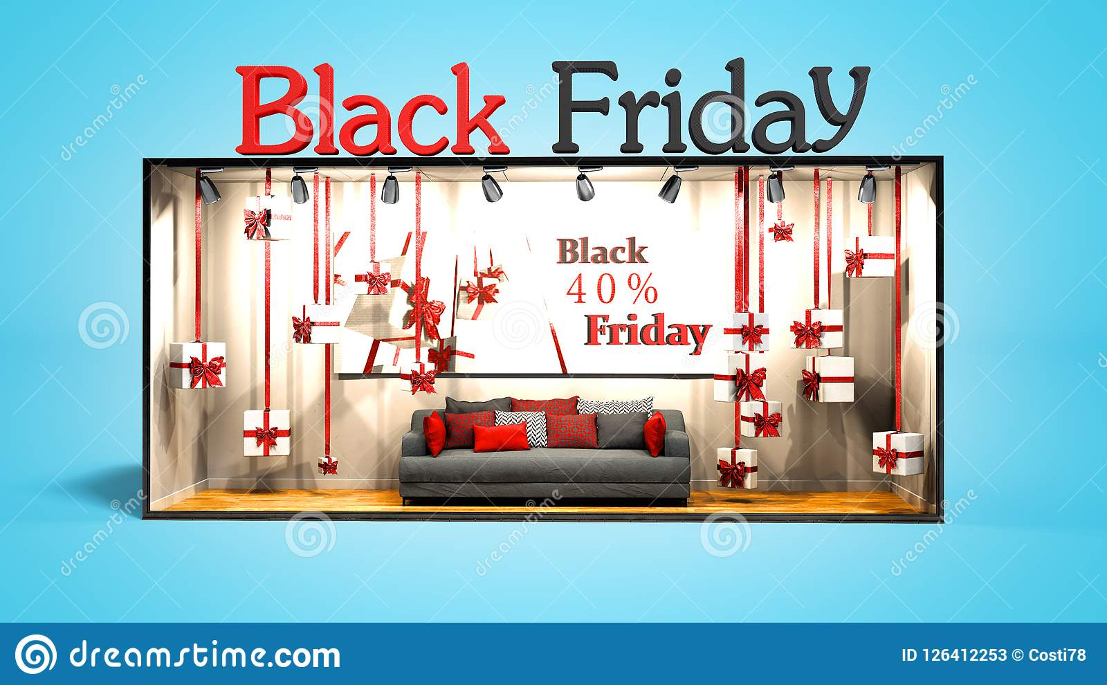 Modern concept black Friday in the store with gifts and discounts 3D render on blue background with shadow