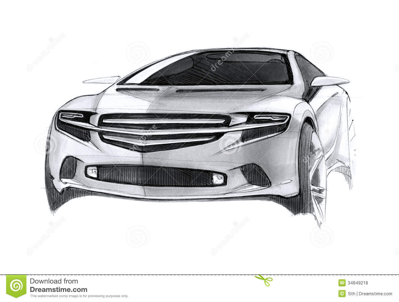 Modern Concept Car Drawing Stock Illustration Image Of